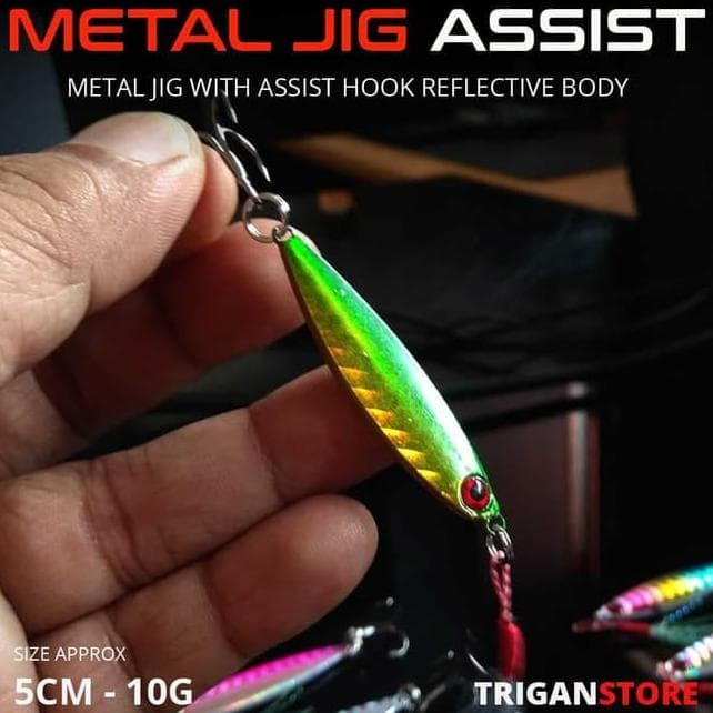 Foto Produk TERMURAH UMPAN METAL JIG WITH ASSIST HOOK GLOW EYE 10 GRAM PANCING dari uhuuyyy