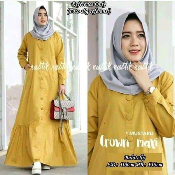 Jual Baju Gamis Dress Wanita Warna Kuning Kota Surabaya Al Kautsar Herbal Store Tokopedia