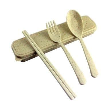 Foto Produk Set Alat Makan Jerami Gandum Wheat Straw Sendok Garpu Sumpit Ramah - cream dari Laris49