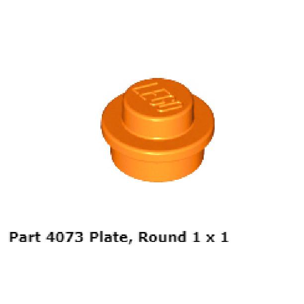 LEGO Lot of 10 Orange 1x1 Round Plate Pieces