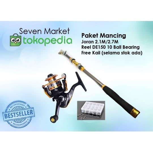 Foto Produk Paket Mancing Danau Laut Joran 2.1M/2.7M, Reel DE150 10 Ball Bearing dari seven7 market