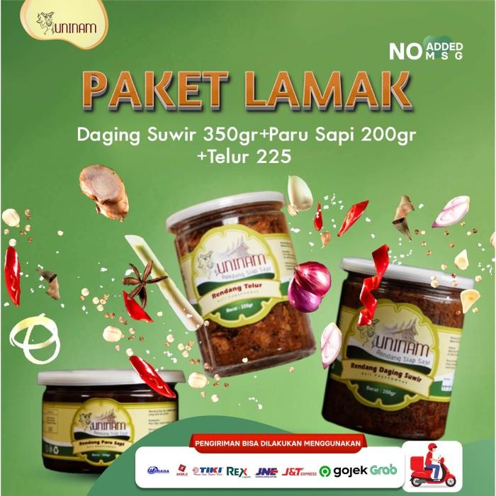 Foto Produk Rendang daging suwir 350 gr + telur 225 gr + paru 200 gr paketan dari UniNam