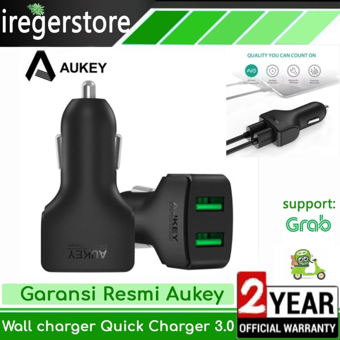 Foto Produk [ORIGINAL] Aukey Dual USB Fast Car Charger Mobil CC-S3 dari iregerstore