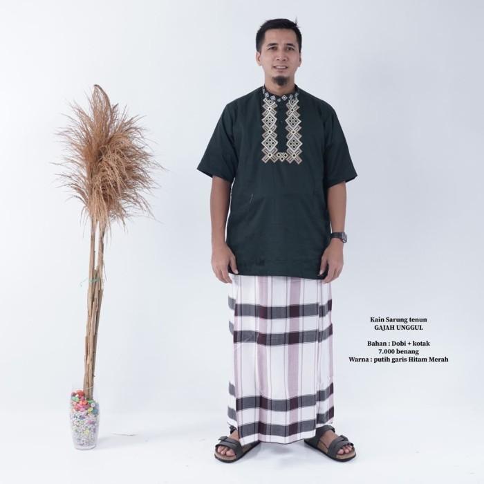 Foto Produk Sarung Tenun Gajah Unggul Putih garis hitam merah dari annamukena