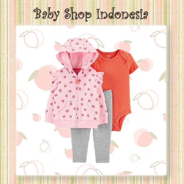 Foto Produk Setelan Baju Bayi Import 3in1 Jumpsuit Bayi dan Jaket Bayi Cewek Pink - 6-9 Bulan dari Baby Shop Indonesia BSI