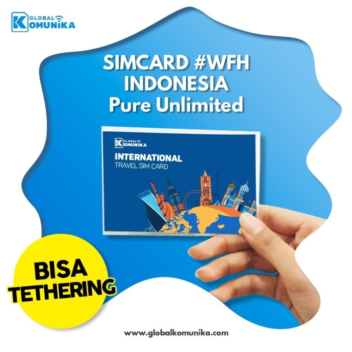 Foto Produk Simcard Indonesia | Pure Unlimited Data | Sim Card Indonesia - 5Hari 4x24Jam dari Global Komunika JKT