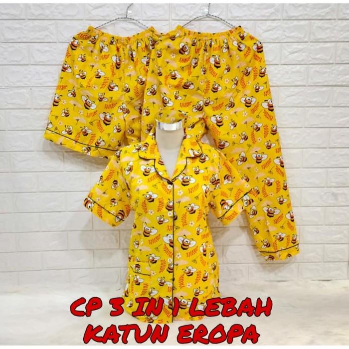 Foto Produk 3in1- CP- panjamas wanita dewasa motif bee lebah bahan katun eropa dari LADYCOLLECTIONN