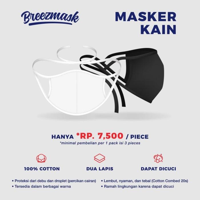 Foto Produk Breezmask Masker Kain Tali / Hijab Cotton dari KAOS POLOS MANIA