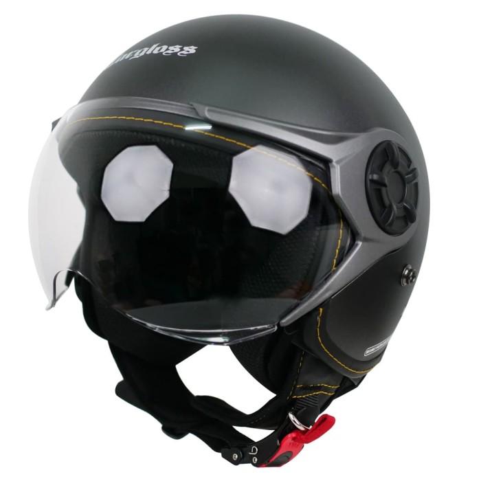 Foto Produk Cargloss YRM Micrometric Buckle, visor Hardcoat Half face - Gun Metal - XL dari Helm Cargloss
