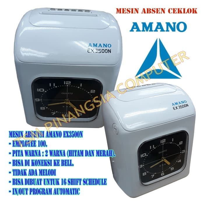 Buku manual mesin absensi amano ex3500n time clock