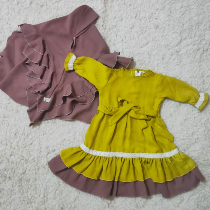 Foto Produk Baju Gamis Anak Zara ukuran L - Kuning dari Gamis Anak Afrah