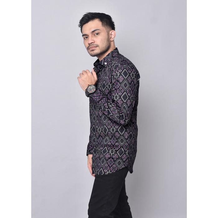 Foto Produk Babedo Kemeja Batik Pria Slim Fit Motif Diamond Premium Lengan Panjang - Hitam, M dari Babedo Scarves