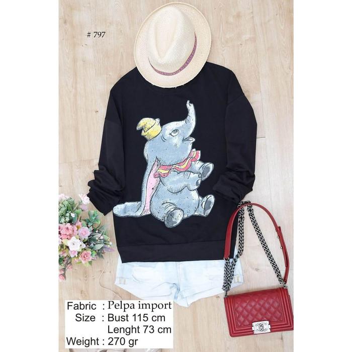 Foto Produk SWEATER DUMBO CLASSIC LENGAN PANJANG HITAM kaos wanita looklike MURAH dari KPStore Fashion Online