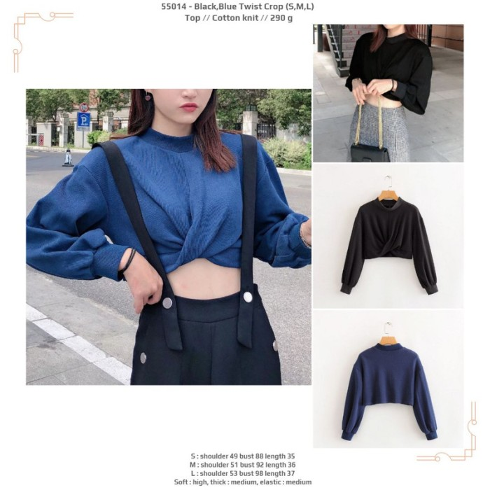 Foto Produk 55014 Black Blue Crop Top / Blouse Crop Hitam Biru Lengan Panjang dari XineShop
