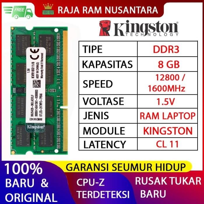 Foto Produk RAM KINGSTON DDR3 8GB 1600MHZ 12800 ORI RAM LAPTOP DDR3 RAM NB DDR3 dari RAJA RAM NUSANTARA