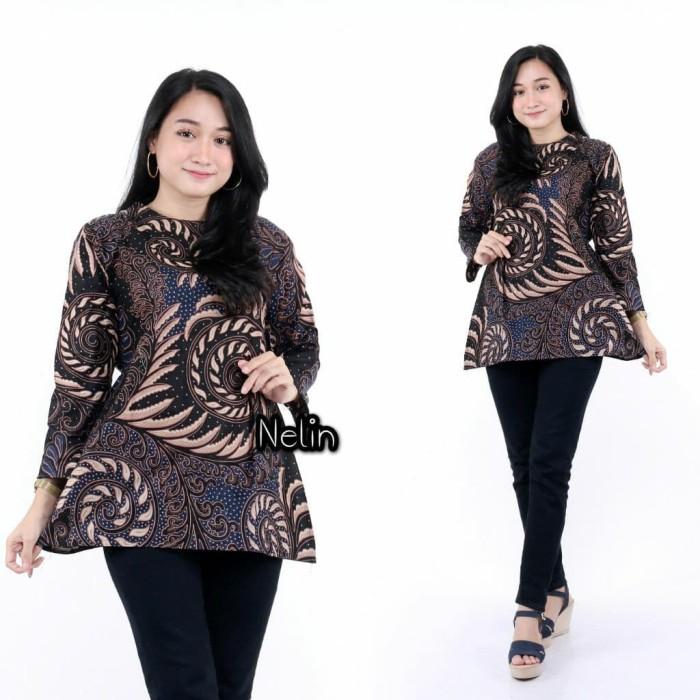 Foto Produk Batik Zakiya - Baju Batik Wanita- Model Blus Batik - Motif Kipas - Hit - Merah dari blouse_batik