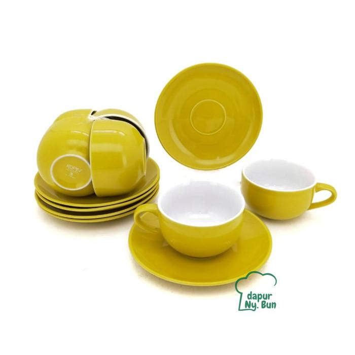 Foto Produk 6 pasang Cangkir Set Two Tone / 2 Warna - Cangkir Kopi - Teh - Kuning dari Dapur Ny.Bun