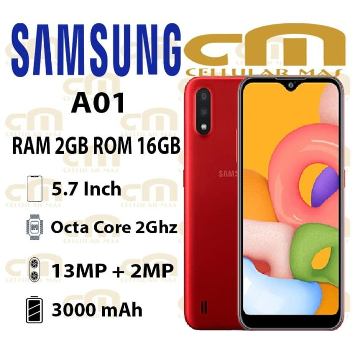 Foto Produk Samsung Galaxy A01 2/16 RAM 2GB ROM 16GB GARANSI RESMI SEIN - Hitam dari Cellular Mas