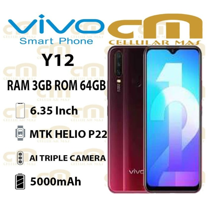 Foto Produk Vivo Y12 3/64 RAM 3GB ROM 64GB GARANSI RESMI VIVO 1 TAHUN - Biru dari Cellular Mas