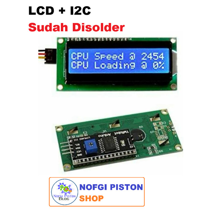 Foto Produk LCD 16x2 Plus I2C, Sudah Disolder, Lcd 1602 Blue Backlight I2C Module dari Nofgi Piston Shop