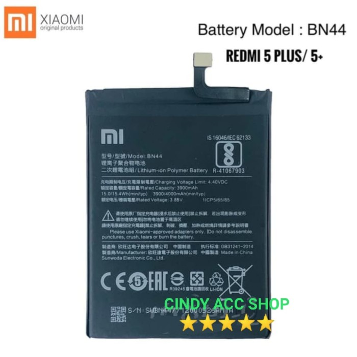 Foto Produk Baterai Original Xiaomi Redmi 5 Plus BN44 Mi 5+ Original Battery Batre dari Cindy acc shop