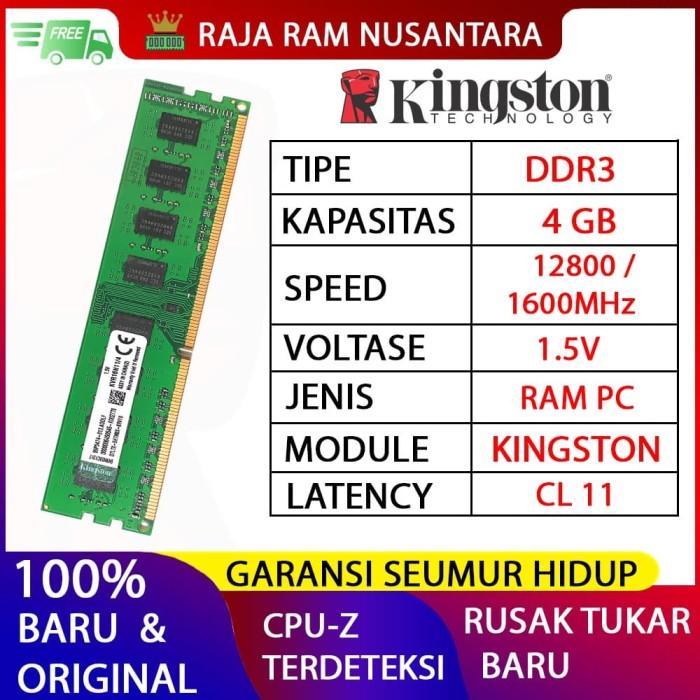 Foto Produk RAM PC KINGSTON DDR3 4gb 12800 / 1600MHz ORI RAM KOMPUTER RAM PC 1.5v dari RAJA RAM NUSANTARA