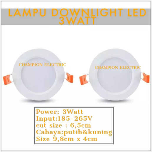 Foto Produk Lampu LED Downlight 3 Watt Cahaya putih dari Champion Electric