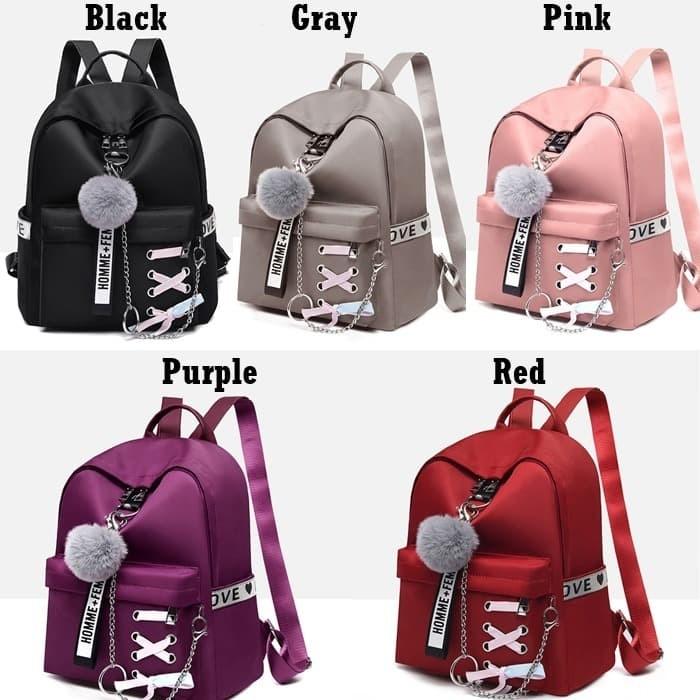 Foto Produk Tas Ransel Q2680 Backpack Wanita Nylon Gantungan Pompom Import Jakarta dari Gudang Distributor Murah