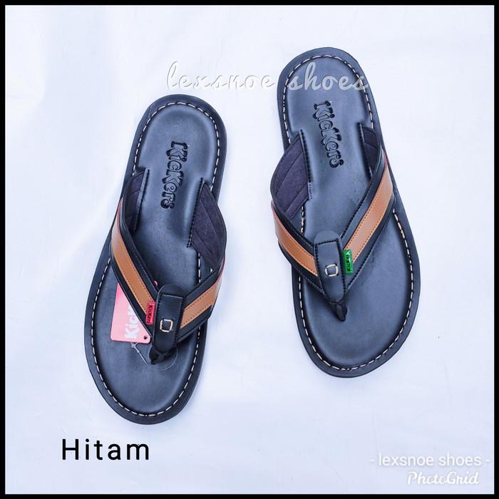 Foto Produk sendal kickers pria kulit lembut & trendy premium - Hitam, 42 dari lexsnoe shoes