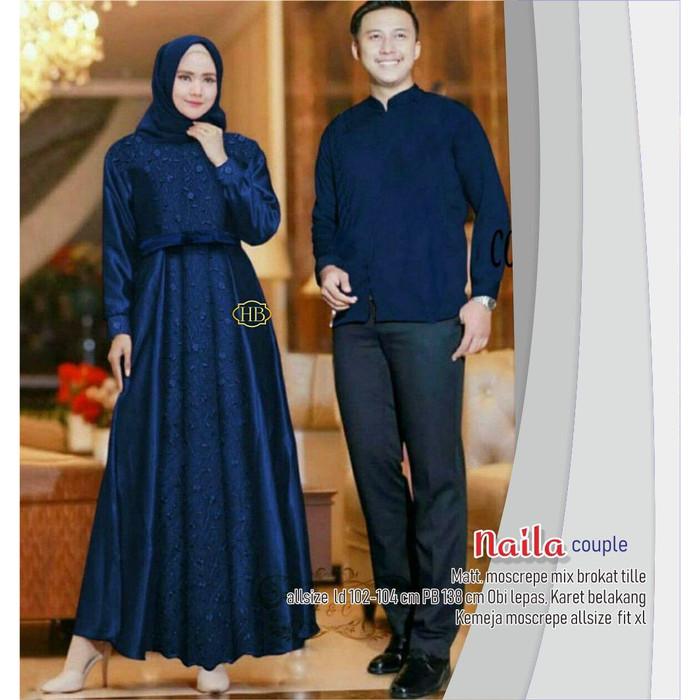 Jual Baju Couple Gamis Syari Pasangan Pria Wanita Muslim Keluarga Terbaru Biru Kab Pekalongan Mampier Batik Tokopedia