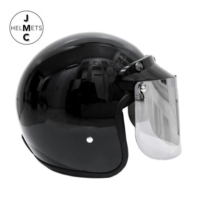 Foto Produk Helm Bogo Retro Kaca Datar Polos Hitam SNI - Hitam dari JMC Helmet