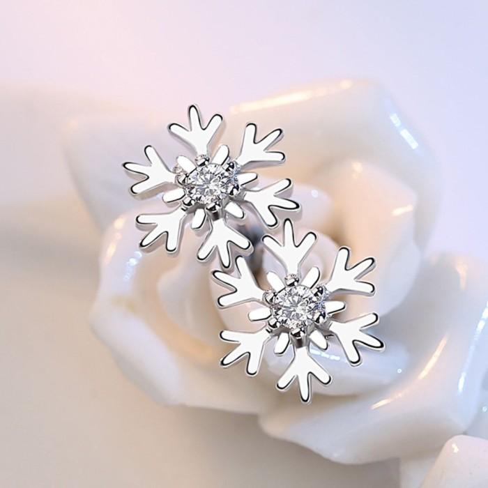 Foto Produk Anting Tusuk Lapis Emas Putih Desain Snowflake Hypoallergenic untuk dari MART EXELL