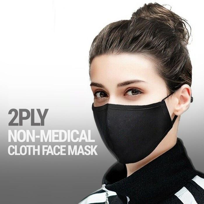Foto Produk Masker Kain 2 Ply 2Ply Tali Hijab Earloop Headloop Lembut Bisa dicuci - Hitam dari lbagstore