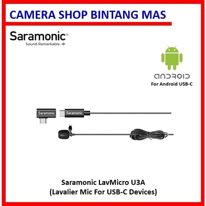 Foto Produk Saramonic LavMicro U3A - Lavalier Mic for USB-C Smartphone Devices dari Camera Shop Bintang Mas