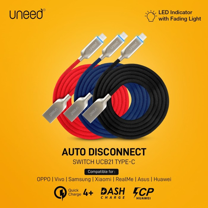 Foto Produk UNEED Switch Auto Disconnect Kabel Data Type C with QC 3.0 - UCB21C - Merah dari Uneed Indonesia
