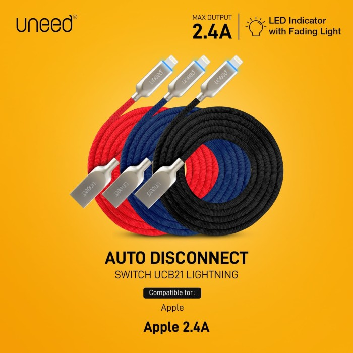 Foto Produk UNEED Switch Auto Disconnect Kabel Data Lightning - UCB21i - Merah dari Uneed Indonesia