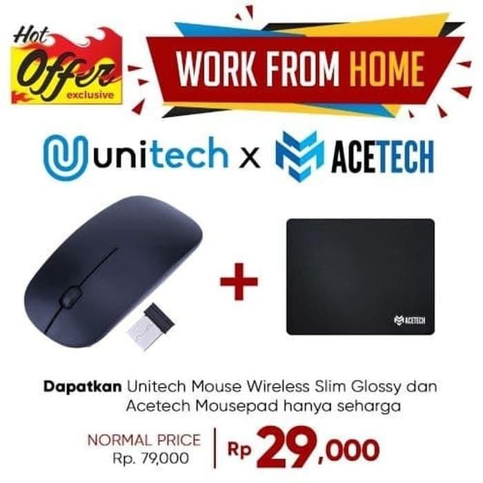 Foto Produk Unique 2.4Ghz Multicolor USB Mini Ultra-thin Wireless Mouse Slim M2 - Hitam dari Techwave