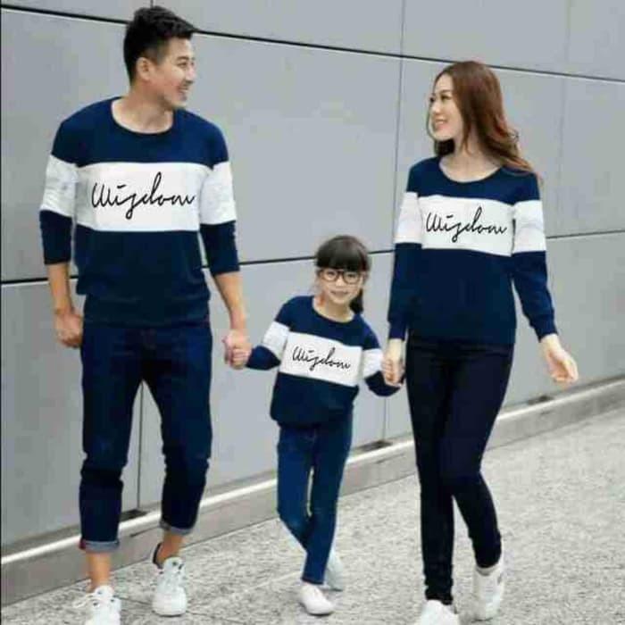 Foto Produk [Cp Family Wisdom LT]Sweater couple family babytery navy dari branded shopping
