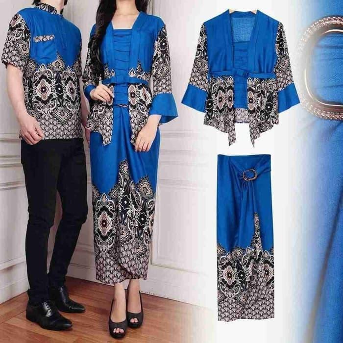 Foto Produk [Cp Kelana Blue AK] couple baju katun rayon biru dari branded shopping