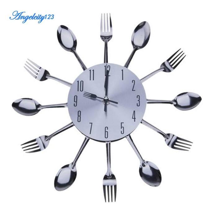 Jual Home Modern Design Sliver Cutlery Kitchen Wall Clock Spoon Fork Jakarta Barat Manufactur Tokopedia