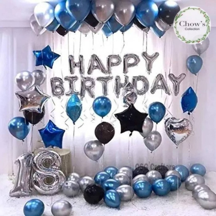 Foto Produk Paket Dekorasi Balon Ulang Tahun / Happy Birthday Silver 02 dari Chowping Store