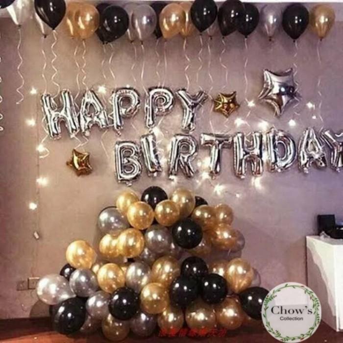 Foto Produk Paket Dekorasi Balon Ulang Tahun / Happy Birthday Silver 03 dari Chowping Store