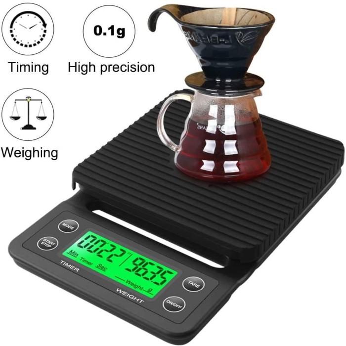 Foto Produk Coffee Scale Timbangan Kopi Digital Timer 3Kg Pour Over V60 Filter TSC dari HRDIK