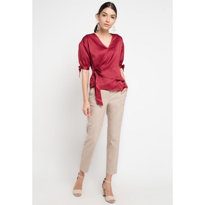 Foto Produk Blouse Wanita EDITION EB124 Dot Wrap Top - Merah, L dari Edition Official Store