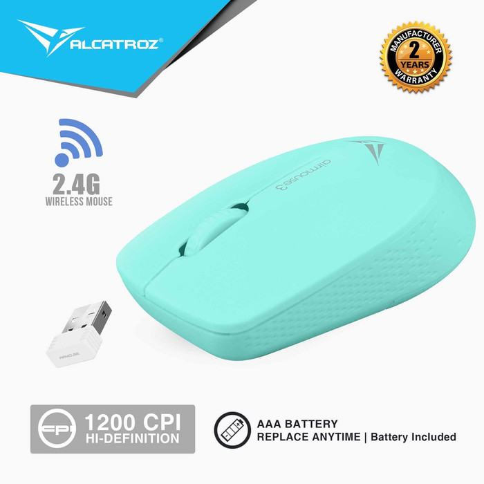 Foto Produk Alcatroz AirMouse 3 Wireless 2.4G Hi Definition Optical Mouse 1200CPI - Biru Muda dari Alcatroz Official Store