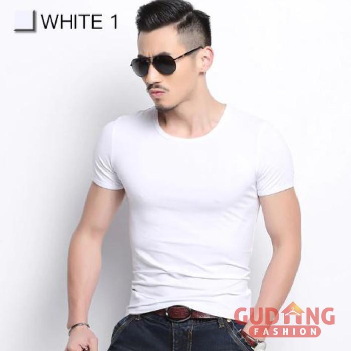 Foto Produk Kaos Polos Pria Spandek Reguler Fit Lengan Pendek Hitam Putih (FP) - Putih, XL dari Gudang Fashion