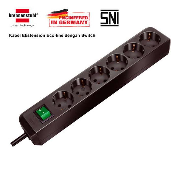 Foto Produk Brennenstuhl Stop Kontak 6 Socket With Switch - Eco Line (Black) dari sant's store
