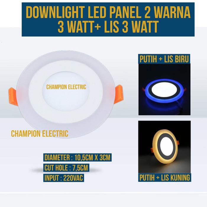 Foto Produk Lampu Downlight LED 2 Warna 3W Putih 3 Watt Lis Biru atau Kuning - Putih-Kuning dari Champion Electric