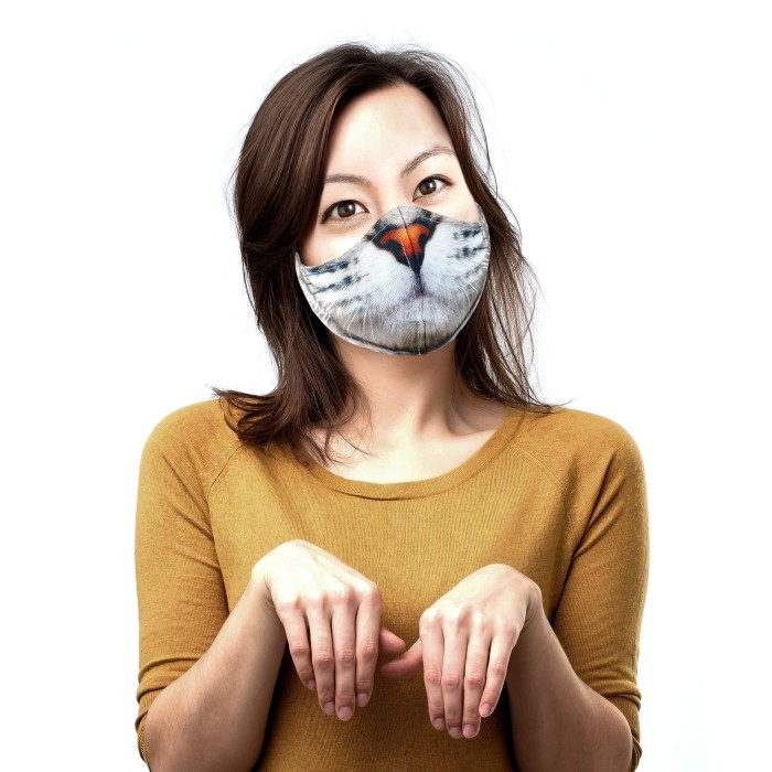 Jual Masker Kain Unik Tahan Percikan Air Kucing Meong ...