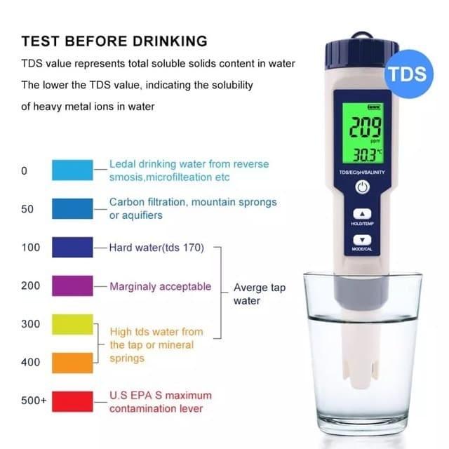 Foto Produk Salinity PH TDS EC Temp 5 in 1 Water Tester EZ-9909 Meter EZ9909 Salt dari HRDIK